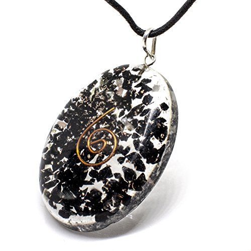 Orgonite Necklace with Bionized Black Tourmaline Crystals – Tested Cho Ku Rei Reiki Charged - Cell Phone Radiation Shield and EMF Protection Device –Negative Energy Transformer ()
