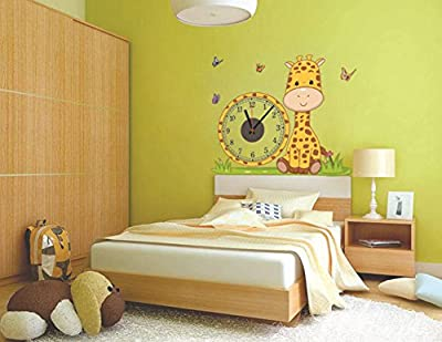 Giraffe Creative DIY Clock Wall Sticker Clock Wall Decals Clock Home Art Decor Decal Vinyl Removable Animal Wall Sticker Mural Art Wallpaper