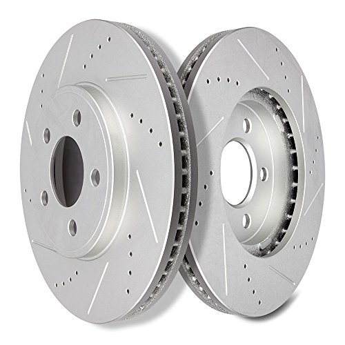 SCITOO Brakes Rotors 2pcs Front Drilled Slotted Discs Brake Rotors Brakes Kit fit 2003-2011 Ford Crown Victoria,2003-2010 Lincoln Town Car,2003-2010 Mercury Grand Marquis,2003-2004 Mercury Marauder