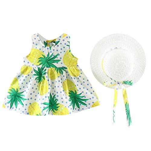 Hatoys 2PCS Cute Fruits Beach Dress,Toddler Baby Girls Sundress +Hat Clothes Outfit (0-6Months, Green) ()