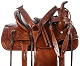 AceRugs All Natural Cowhide Western Leather Horse Saddle Comfy SEAT Pleasure Trail Barrel Racing Hand Tooled Premium Saddle TACK Set Bridle Breast Collar (16)