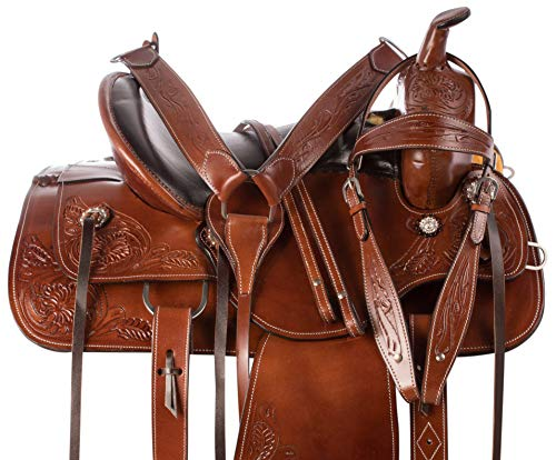 (AceRugs All Natural Cowhide Western Leather Horse Saddle Comfy SEAT Pleasure Trail Barrel Racing Hand Tooled Premium Saddle TACK Set Bridle Breast Collar (16))
