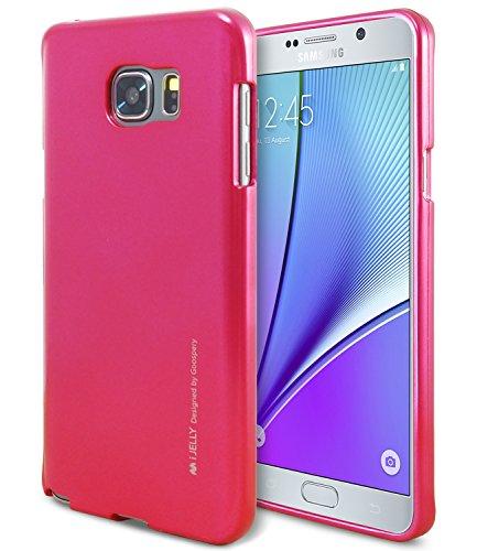 Galaxy Note 5 Case, [Ultra Slim Fit] Goospery i-Jelly Case  Premium TPU Case Cover   - Metallic Hot Pink