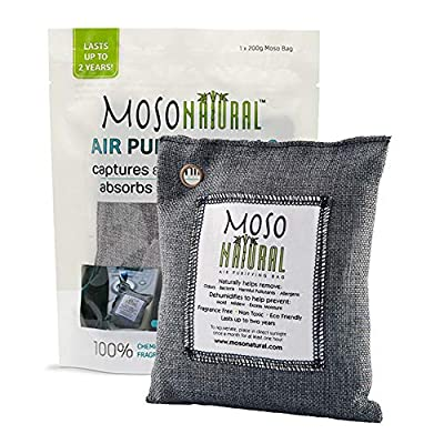 MOSO NATURAL Air Purifying Bag. Bamboo Charcoal Air Freshener, Deodorizer, Odor Eliminator, Odor Absorber for Cars and Closets.