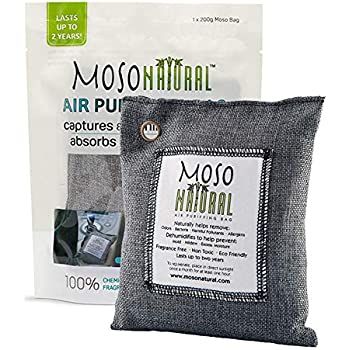 MOSO NATURAL Air Purifying Bag. Bamboo Charcoal Air Freshener, Deodorizer, Odor Eliminator, Odor Absorber for Cars and Closets. 200g Charcoal Color