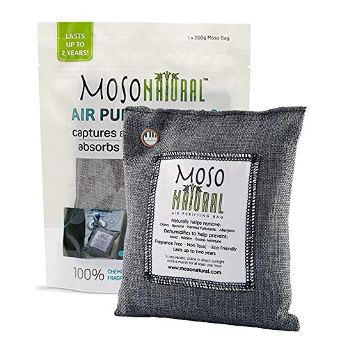 - MOSO NATURAL Air Purifying Bag. Odor Eliminator, Odor Absorber for Cars and Closets. 200g Charcoal Color