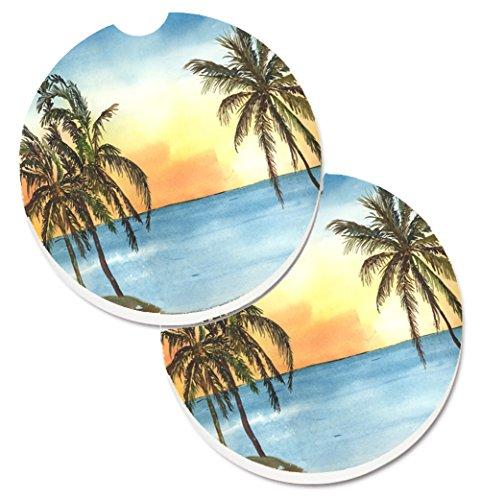 - Caroline's Treasures Palm Tree Set of 2 Cup Holder Car Coasters 8551CARC, 2.56, Multicolor