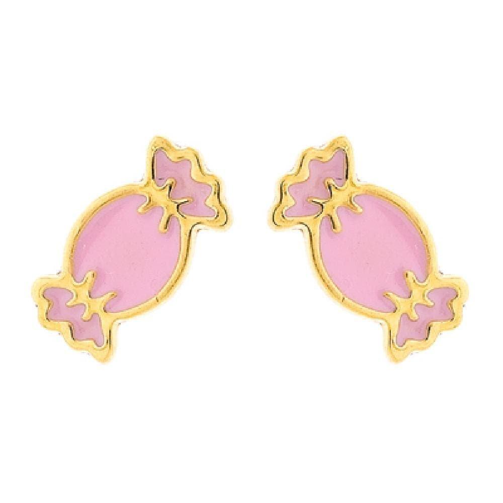 9k Yellow Gold So Chic Jewels Pink Enamel Candy Stud Earrings