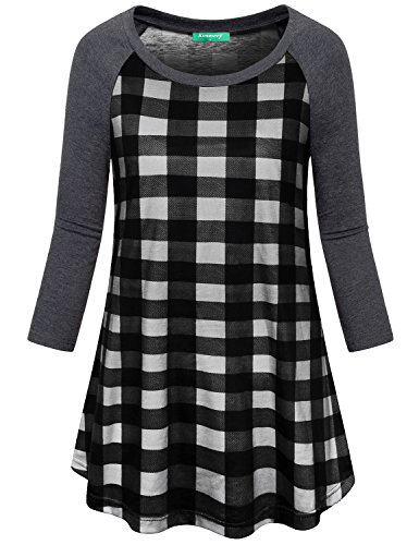 Patterned Knit Tunic (Kimmery 3/4 Sleeve Shirts For Women, Juniors Soft Knit Round Neck House Wear Patterned Blouses Buffalo Plaid Raglan Daily Tunic Maternity Clothing Patchwork Tops Black Plaid Large)