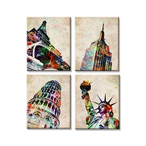 Retro Landmark Eiffel Tower The goddess of freedom Leaning Tower of Pisa Empire State Building of Liberty Coffee Decorative Painting Restaurant Bar Painting Framed to Hang by VIIVEI