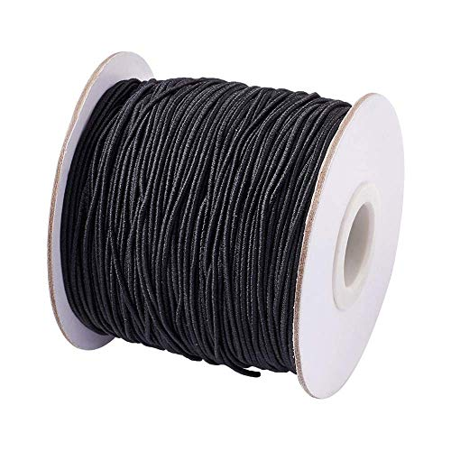 Pandahall 1mm 109 Yards Elastic Cord with Rubber Inside Stretch Beading String Crafting Thread for DIY Bracelet Jewelry Making (Balck) ()
