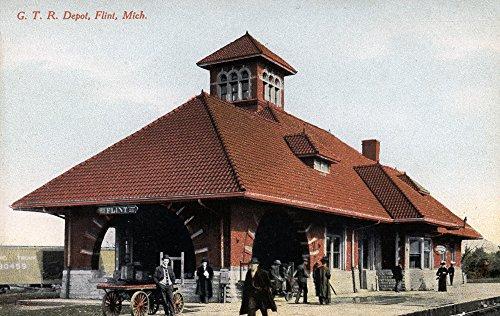 Flint, Michigan - G T and R Railroad Depot Giclee Gallery Print, Wall Decor