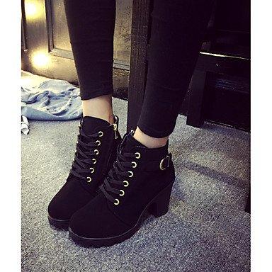 RTRY Zapatos de mujer Moda Invierno Pu botas botas Chunky talón puntera redonda botines/botines de Casual Negro Marrón Verde US6.5-7 / EU37 / UK4.5-5 / CN37