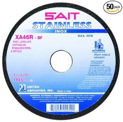 SAIT 24254 Type 1 7 by 1//16 by 7//8 Stainless Cutting Wheel United Abrasives 50-Pack