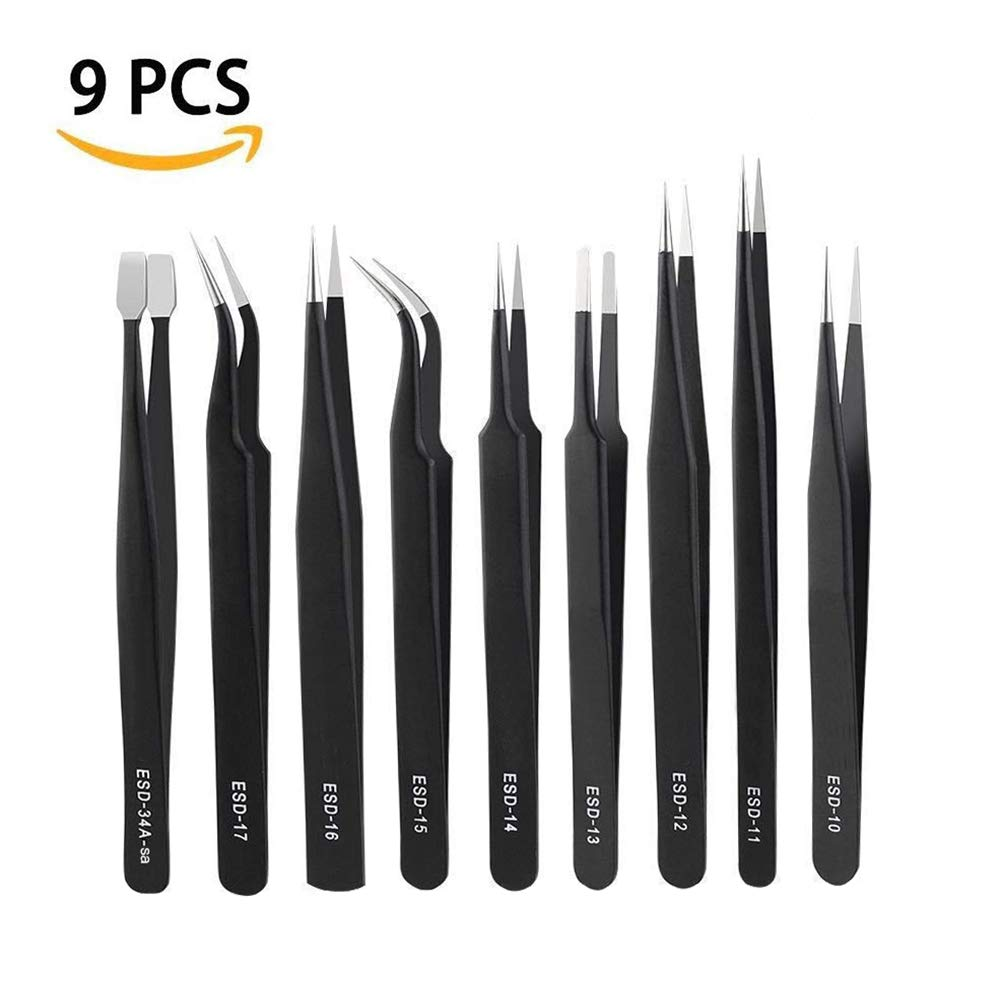 9 Piece ESD Tweezers Tools Kit, Beaulinks Precision Anti-Static Non-Magnetic Tweezers for Beauty,Nail Art,Jewelry-Making Watches,Medical,Electronics, Laboratory Work