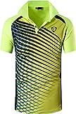 ZITY Mens Polo Shirt Cool Quick-Dry Sweat-Wicking Color Block Short Sleeve Sports Golf Tennis T-Shirt(Bgreen-L)