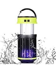 Gazaar 3-i-1 solcellslampor campinglykta myggdödare tältlampa, bärbar vattentät infällbar krok insekt zapper campinglampa, för vandring, fiske och nödsituationer