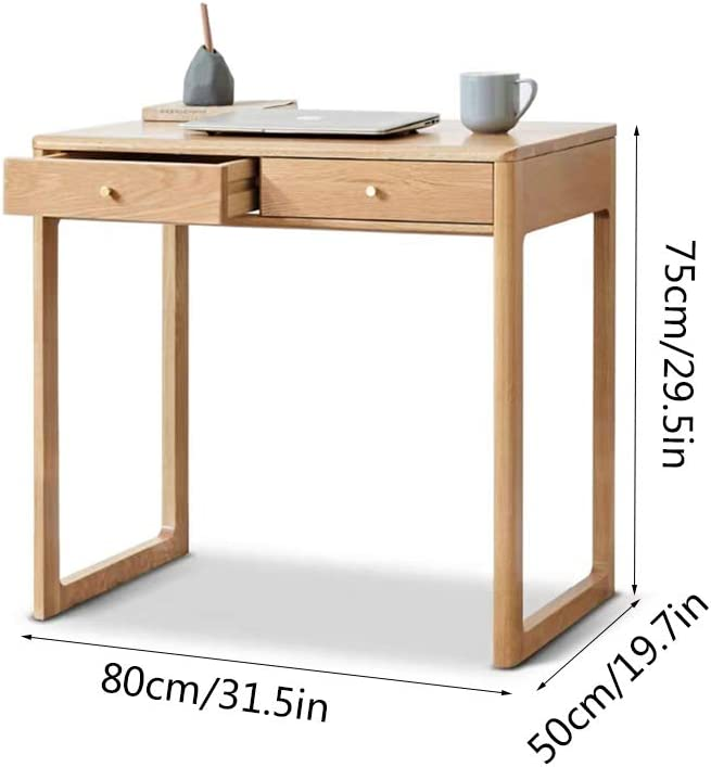 Zpf Wooden Desk With Drawer 32 20 30 Inch Small Double Drawer Multi Purpose Pure Wood Manufacturing Writing Desk For Family Study Bedroom Amazon Co Uk Kitchen Home