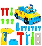 TOYK Truck Take Apart Toys for Boys Girl With Electric Drill and Various Take-A-Part Tools, Lights and Music, Construction Car Stem Toys for Kids
