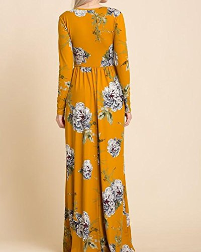 Mustard Empire Long Sleeve Dress Waist Neck V Floral Women's Ashuai Maxi Print BZ0P7w4