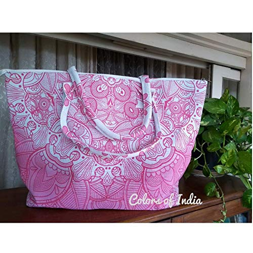 Amazon.com  Pink Mandala Tapestry Tote Bags for Women Beach Bag FREE  SHIPPING  Handmade 301a82ad5f