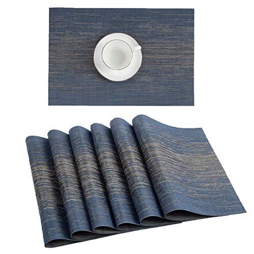 Pauwer Placemats Set of 8 Crossweave Woven Vinyl Placemat for Kitchen Table Heat Resistant Non-Slip Kitchen Table Mats Easy to Clean (8pcs Placemats, Blue) (Blue Mats Table Navy)