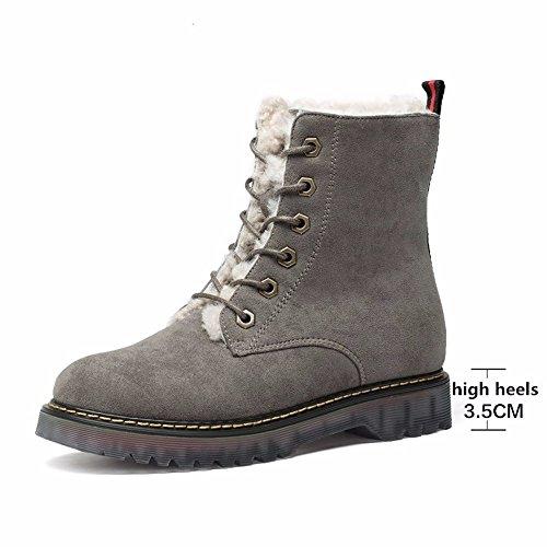 Terciopelo Gruesa Calzado Encaje Mujer Más Plana Zapatos Martin Cálido Algodón Gray Botas De Hxvu56546 Nieve qB1wx