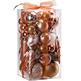 Sea Team 50-Pack Assorted Shatterproof Christmas Ball Ornaments Set Decorative Baubles Pendants with Premium Gift Wrapping Ribbon for Xmas Tree (Copper)