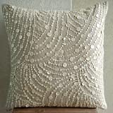 """Handmade Ecru Pillow Shams, Mother Of Pearls Pillow Shams, 24""""x24"""" Pillow Shams, Square Cotton Linen Shams, - Dreams N Pearls"""