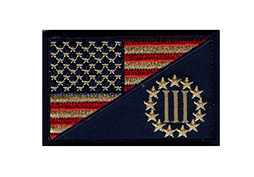 Three 3% Percenter Usa flag SUBDUED 3 inch Tactical Milspec Morale Hook Patch
