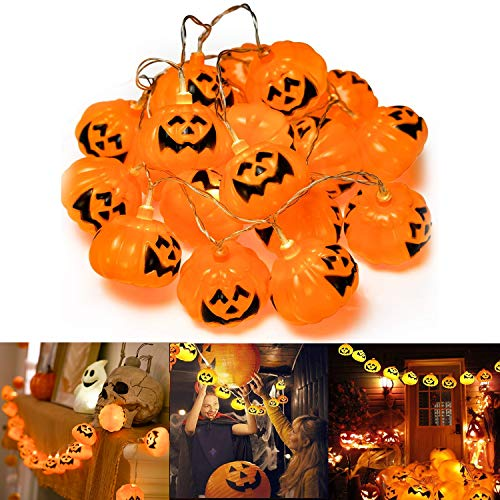Muscccm Halloween Pumpkin Lights, 20 LED Pumpkin Halloween Decoration Jack o Lantern String Lights Powered Pumpkin Lantern Decor for Indoor/Outdoor Halloween, Party and Christmas