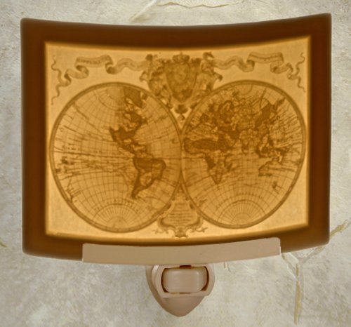 The Porcelain Garden Old World Map Lithopane Night Light, Made in the USA