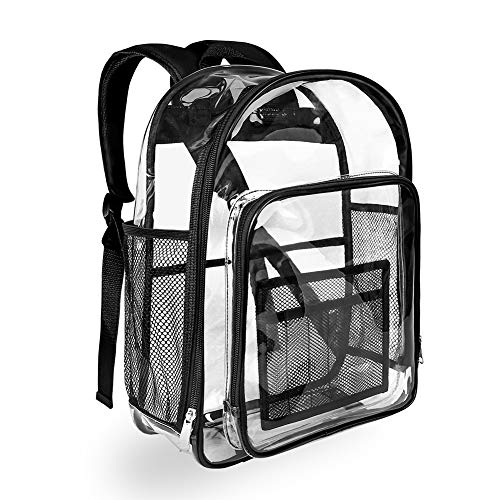 Heavy Duty Black Clear Backpack, Carry360 Durable Transparent Backpack, See Through Bookbag for School Student, Work, Security Check and Travel