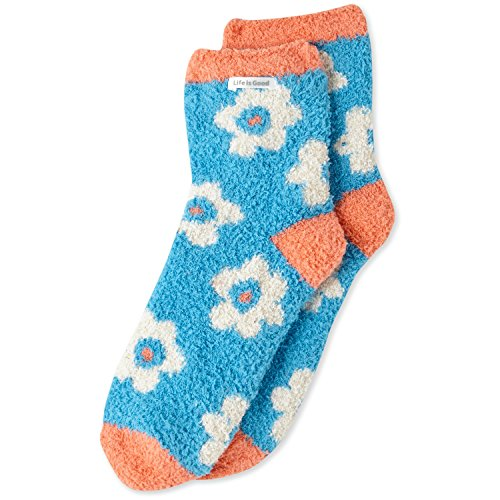 Life is good Women's Snuggle Socks Scattered Flowers, Cool Turquoise, One Size Snuggle Socks