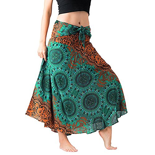 Women Long Hippie Bohemian Gypsy Boho Flowers Elastic Floral Hlater Skirt L Green