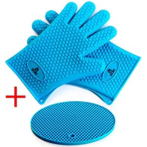 Kuji Kitchen Silicone Oven Mitts - Heat Resistant Cooking Gloves for Grilling BBQ And Jar Opener In Kitchen - Waterproof For Dishwasher With FREE BONUS Pot Holder Best Combination Blue