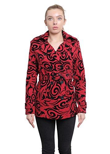 ABRIGO estampado Rojo doble Chaqueta Estampado mujer De La Tribal CORTO pecho Crème Mujer wxCqUv7