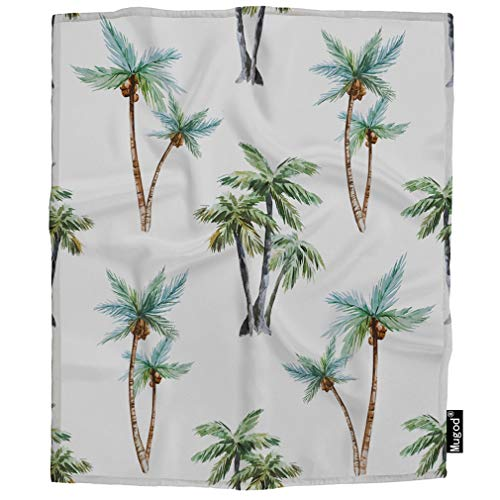 Mugod Palm Trees Blanket Tropical Exotic Natural Plant Leaf Vintage Green Fuzzy Soft Cozy Warm Flannel Throw Blankets Decorative for Adults Kids Women Men Girls Boys 60x80 - Vintage Palm Throw
