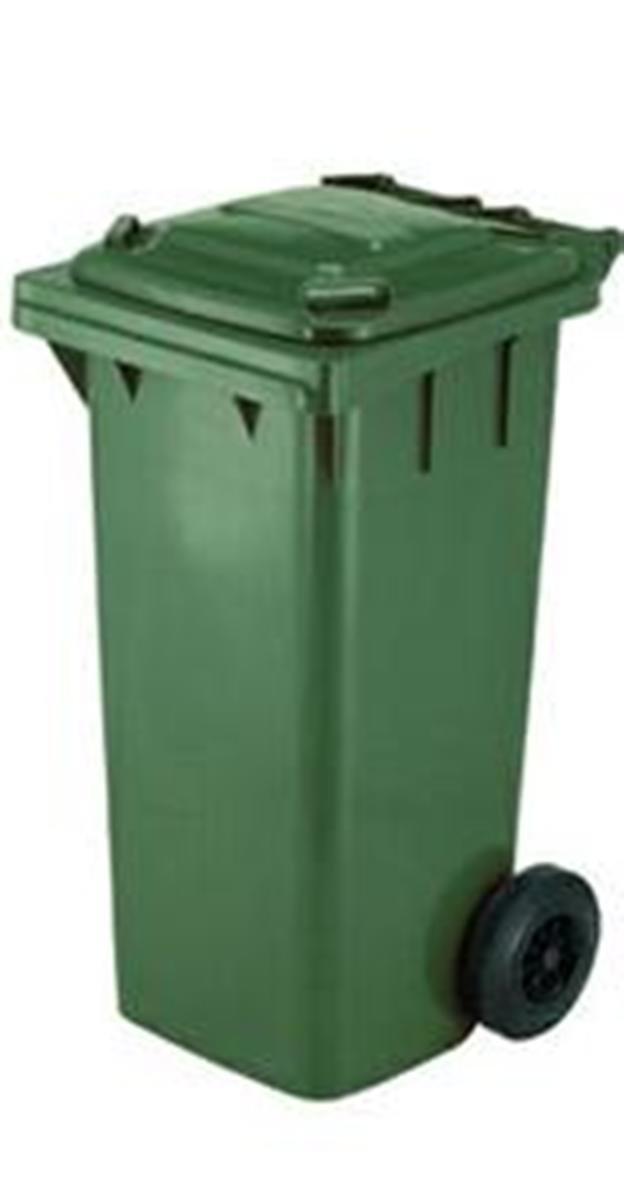 Bidone raccolta differenziata, contenitore da 120 litri colore verde a norma CE EN840 per la raccolta di strada. Bidoni rifiuti carrellati dotati di ruote e coperchio MP