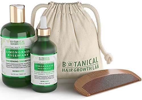 STEPS 1 & 2: Lemongrass - Rosemary Natural Hair Growth Pre-Shampoo Scalp Treatment 4 Oz and Anti-Hair Loss Shampoo 10.2 Oz For Hair Loss and Hair Thinning Prevention