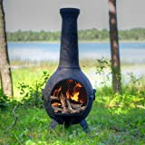 The Blue Rooster Co. Orchid Style Cast Aluminum Wood Burning Chiminea in Charcoal.