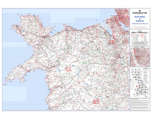 North Wales and Anglesey Postcode Sector Map 16 - Laminated Wall Map