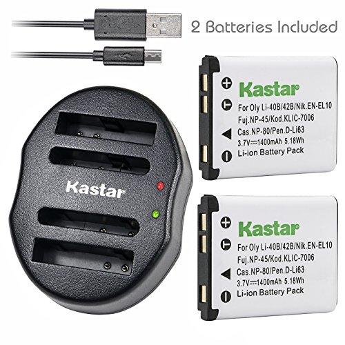 Kastar Battery (X2) & Dual USB Charger for Nikon EN-EL10 MH-63 and Nikon Coolpix S60, S80, S200, S210, S220, S230, S500, S510, S520, S570, S600, S700, S3000, S4000, S5100 + More Camera