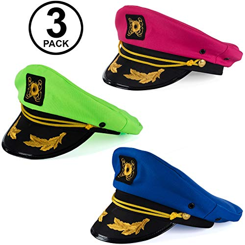 Tigerdoe Yacht Hats - 3 Pack - Captains Hat - Neon Captain Hat - Boaters Hats - Costume Hats - Novelty Hats]()