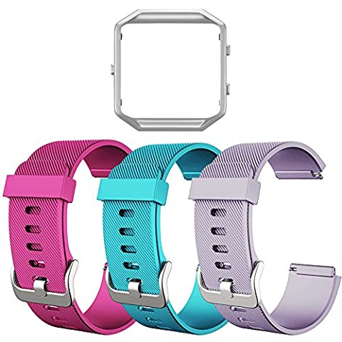 Fitbit Blaze Bands, SKYLET Soft Replacement Wristband with Steel Frame for Fitbit Blaze Bracelet (No Tracker)[3 Pack: Pink&Teal&Light Purple + ONE Silver - Frame One Light