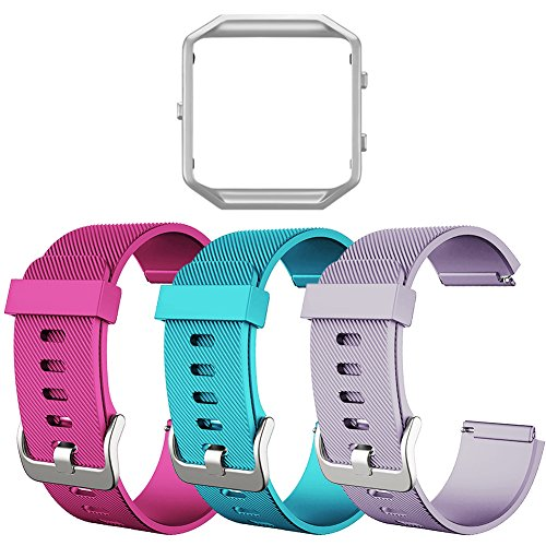 Fitbit Blaze Bands, SKYLET Soft Replacement Wristband with Steel Frame for Fitbit Blaze Bracelet (No Tracker)[3 Pack: Pink&Teal&Light Purple + ONE Silver Frame]