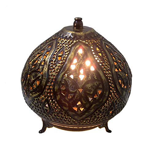 (BR355 Moroccan Night Tea Light Handcrafted Brass Table Lamp)