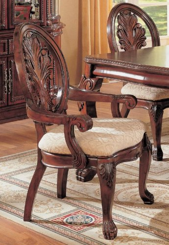 Set of 2 Dining Arm Chairs with Ball & Claw Design Legs Cherry Finish