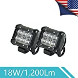 Alifa 2PCS 18W Flood Automotive Led Light Bar, Off Road Light Bar for Car, Truck, Work Light for SUV, ATV, UTV, Boat, Water-proof Led Boat Light, 12V/24V Auto, 1-year Warranty (2 Pieces)