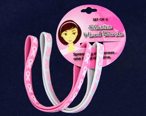 25 Cards of Pink Ribbon Headbands - Stretch (Wholesale Pack - 25 Cards)